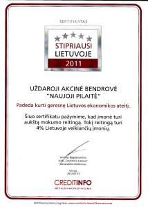 Creditinfo mokumo sertifikatas